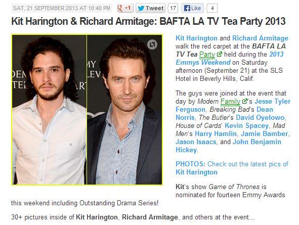 Published on JustJared http://www.justjared.com/2013/09/21/kit-harington-richard-armitage-bafta-la-tv-tea-party-2013/