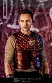 Tom Hiddleston as Coriolanus, in battle gear