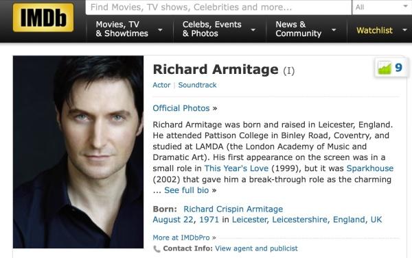 Richard Armitage's IMDb page, 22nd December, 2013.