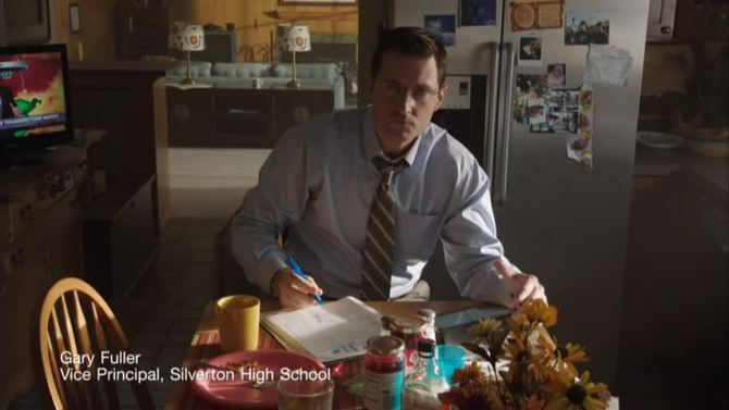 LIke Mnay of us, the kitchen table. Richard Armitage as Gary Fuller in Into the Storm. Source:RACentral